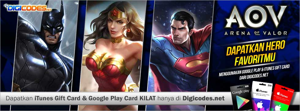 Cara membeli top up Voucher AOV dan Hero AOV - Arena of Valor